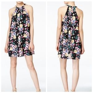 CeCe Black Floral Halter Keyhole Neck Shift Dress